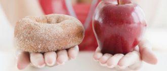 Выбор между пончиком и яблоком